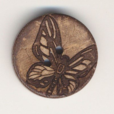 Knoop 25 mm kokos vlinder