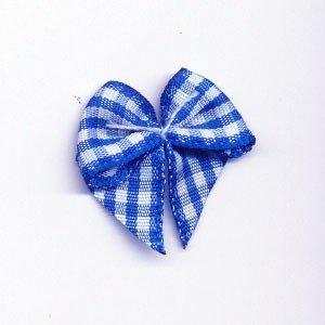 Strikje geruit kobalt blauw - wit 10 stuks