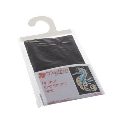 Borduurpakket telefoonhoesje zeepaardje zwart 13 a 8 cm