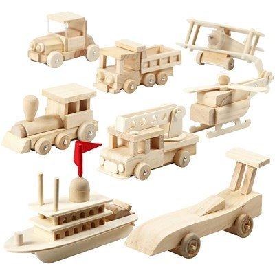Vervoermiddelen hout 5 a 6 a 11 cm 8 stuks - 57722