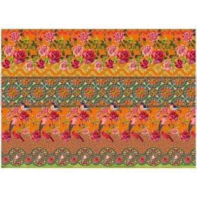 Stenzo tricotstof rozen met vogel - oranje 50 cm