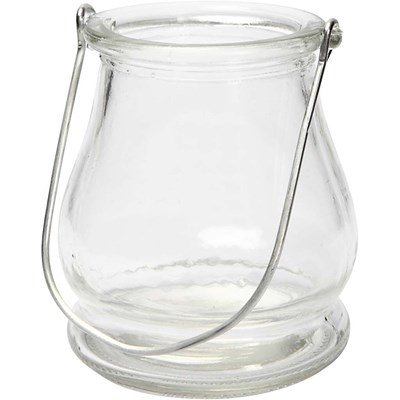 Lantaarn glas buikje hoogte 90 mm, doorsnee 100 mm 3 stuks