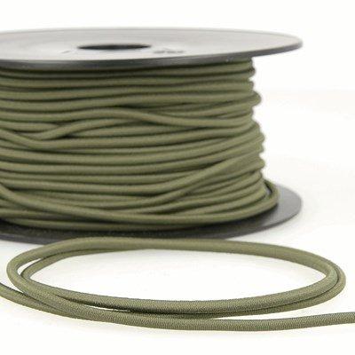 Elastiek koord 3 mm - groen olijf 4,95 meter levering midden juni