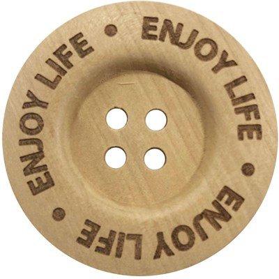 Knoop 40 mm hout - Enjoy life 2 stuks