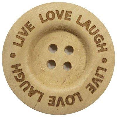 Knoop 40 mm hout - Live Love Laugh 2 stuks