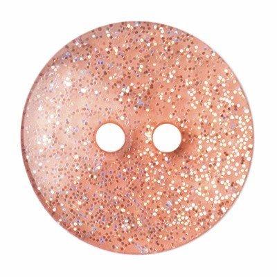 Knoop 18 mm rond glitter poeder roze
