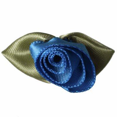 Roosjes blauw met blad 30 a 20 mm 10 stuks