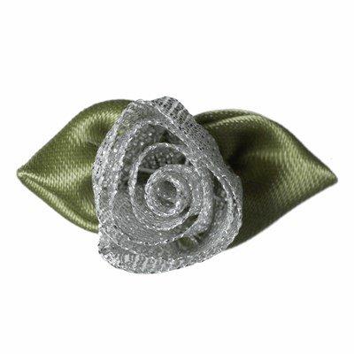 Roosjes zilver met blad 30 a 20 mm 10 stuks