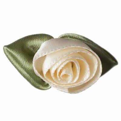 Roosjes creme met groen blad 30 a 20 mm 10 stuks