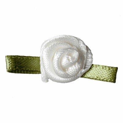 Roosjes wit met groen recht blad 20 a 15 mm 10 stuks