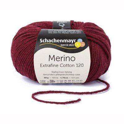 Schachenmayr Merino Extrafine Cotton 120 - 532 donker rood op=op