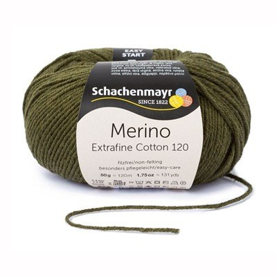 Schachenmayr Merino Extrafine Cotton 120 - 570 mosgroen op=op