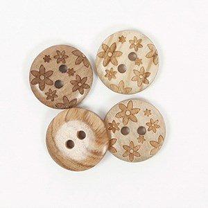 Knoop 15 mm hout met bloem - 628