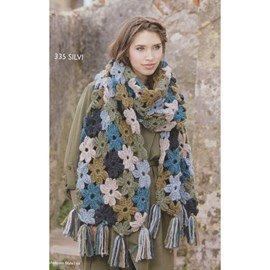 Gehaakte bloemen sjaal. 50 x 210 cm
