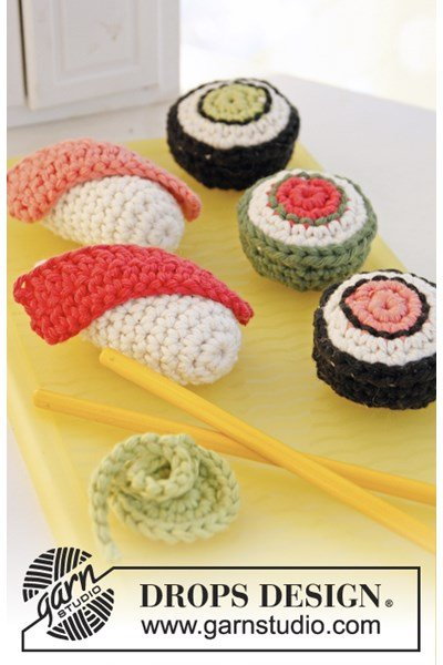 Haakpatroon Sushi en maki met wasabi