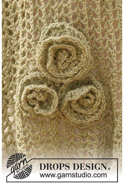 Haakpatroon Gehaakte bloem voor op de sjaal