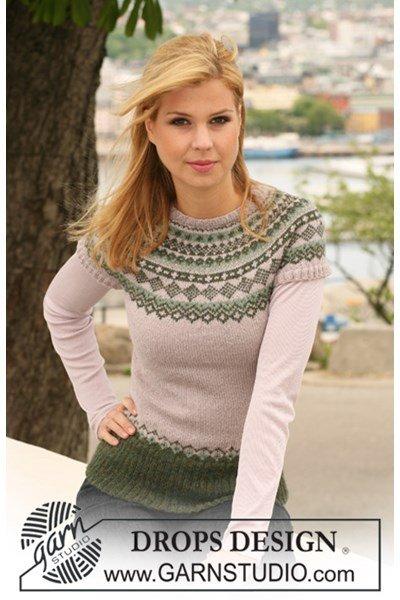 Breipatroon trui met korte raglanmouwen en Noors patroon