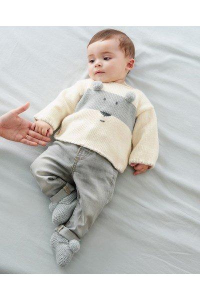 Breipatroon Baby trui met beer