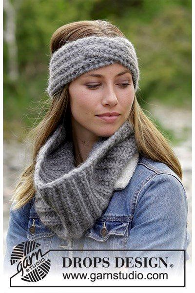 Breipatroon hoofdband en halswarmer Wrap Around