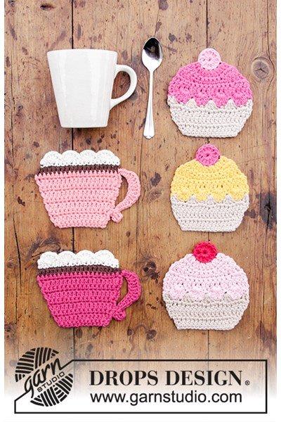 Haakpatroon Onderzetters kopjes en cupcakes